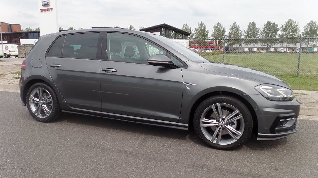 Tiguan Gris Indium >> Volkswagen NEW Golf GP R Line 2018 2,0 TDi Indium Grey Full Option, Special delivery - YouTube