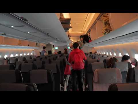 China Airlines A350 best interior boarding flight Taipei to Hong Kong