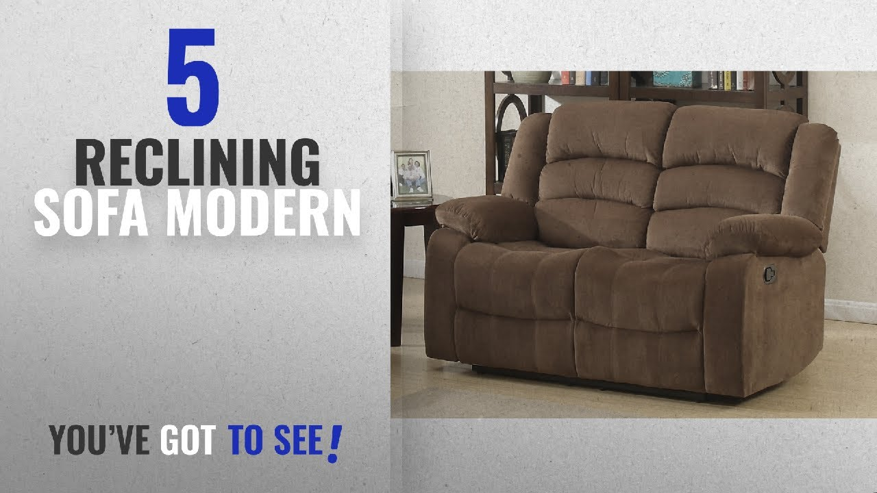 Top 10 Reclining Sofa Modern [2018]: AC Pacific Bill Collection Modern  Fabric Upholstered Living