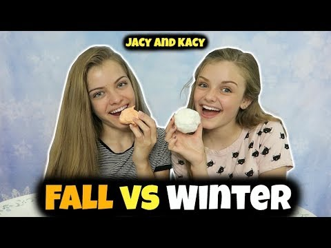 Thumbnail: Fall vs Winter ~ Snacks Challenge ~ Jacy and Kacy