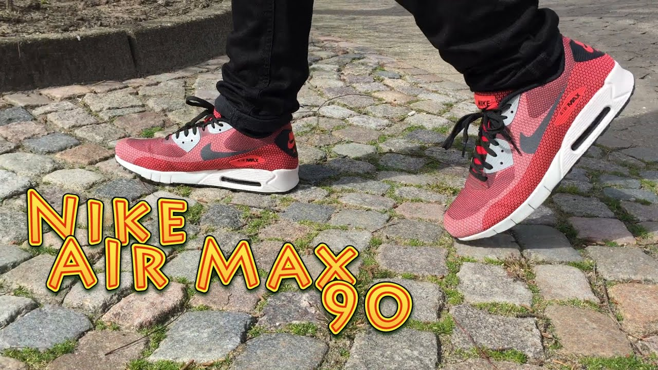 Air Max 90 Black And Red On Feet