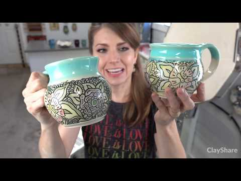 Kiln Opening! Carved Mugs, New Glaze Tests And Fab Color Combos!