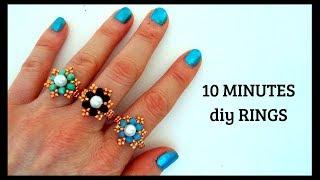 10 minutes DIY RINGS. Beading tutorials. How to make rings