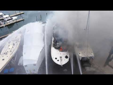 Yacht catches fire in Rivera Beach
