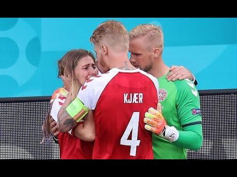 Simon Kjær comforts Christian Eriksen's wife 🥺🥺