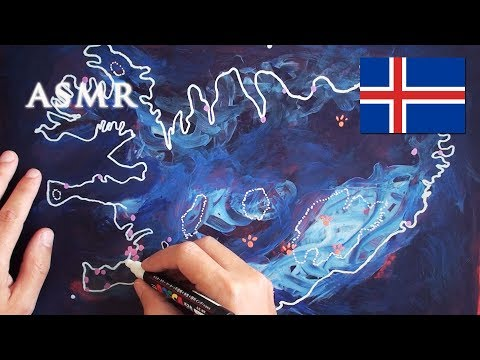 ASMR 1hr Drawing Map Of Iceland | History Sagas Vikings