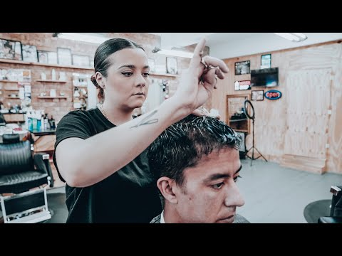 Relaxing Full Haircut & Taper From Female Barber (ASMR - No Talking - Nomad Barber - Part 1)