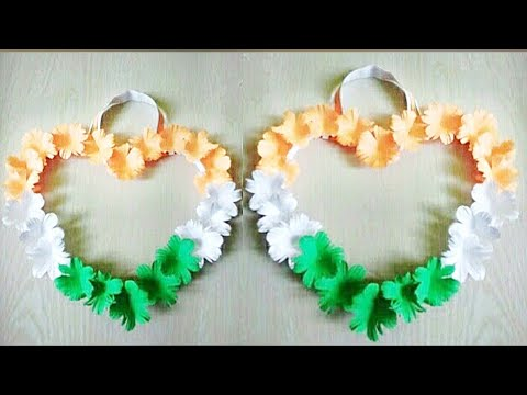 Amazing Independence Day Craft Ideas     Diy Tricolour Heart Shape Craft      Best Paper Craft