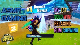ASMR Gaming | Fortnite Chapter 2 My 1st Solo Win! Gum Chewing 🎮🎧Controller Sounds + Whispering😴💤