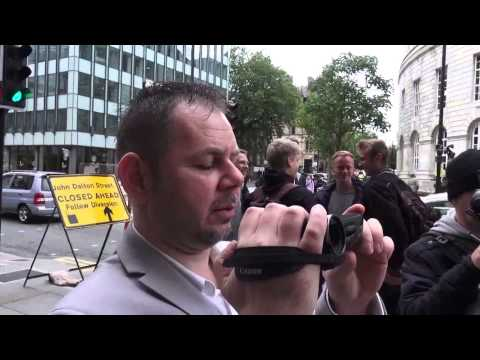 Protest outside social services annual conference Manchester 2015