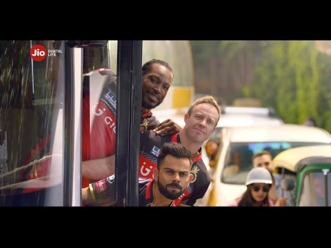 Thumbnail: Royal Challengers Bangalore v Rising Pune Supergiant connected by Jio Digital Life.