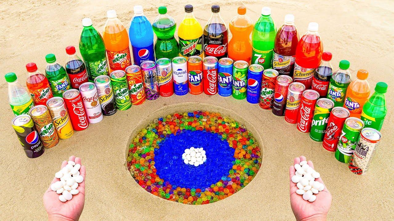 Experiment: Orbeez vs Mtn Dew, Coca Cola, Pepsi, Fanta, Schweppes, Mirinda and Mentos Underground