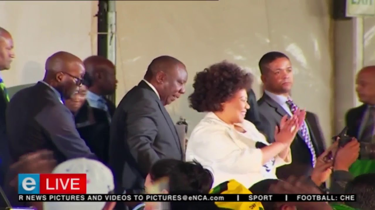 South African president Cyril Ramaphosa arrives at 2018 Women's Day celebrations.