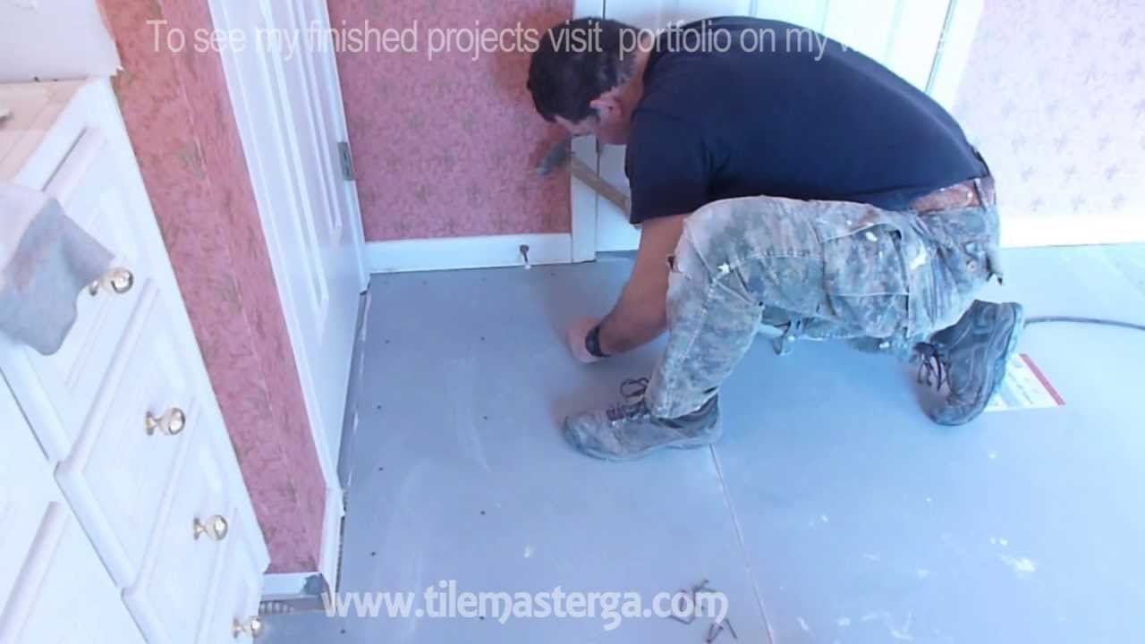 Part 2 how to install tile backer board on wooden subfloor part 2 how to install tile backer board on wooden subfloor plywood floor installation youtube dailygadgetfo Image collections