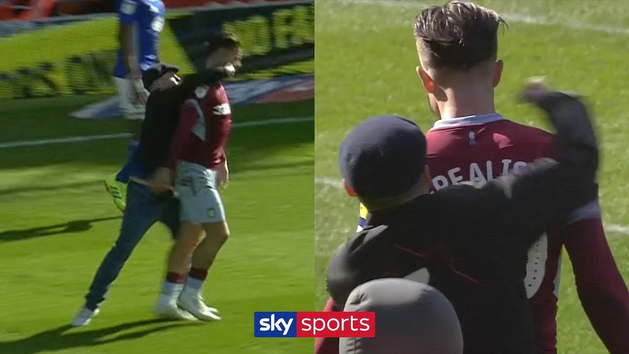 Jack Grealish punched from behind by Birmingham City pitch invader!