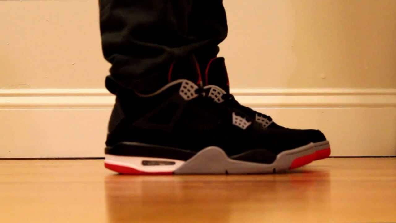 4137c4ea61a Air Jordan IV Bred 2012 Retro On Feet - YouTube