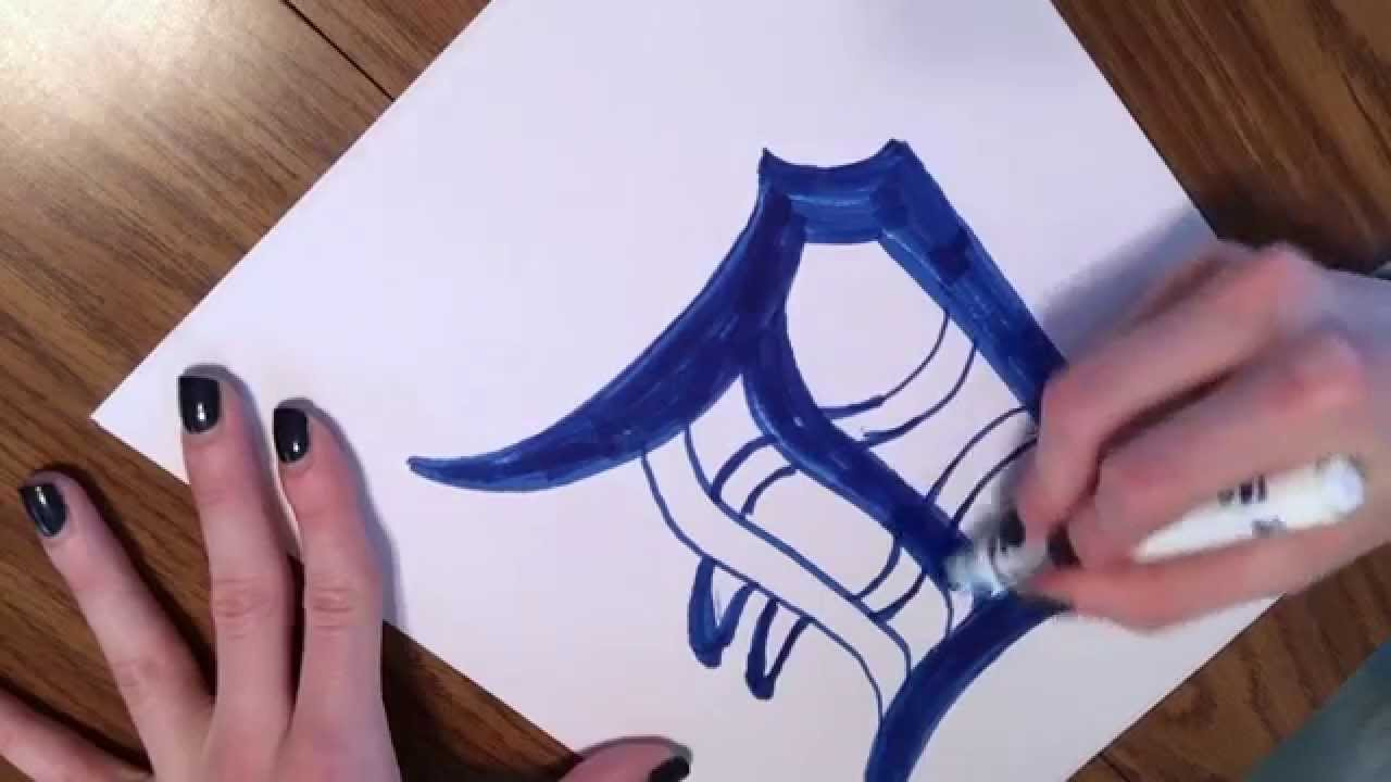 J3550 project: How to Draw a Detroit Tiger Old English \