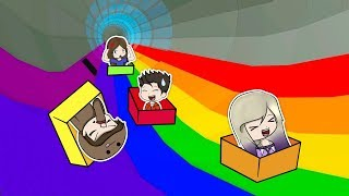 RACE OF BOXES WITH THE TEAM IN THE ROBLOX ARCOIRIS TOBOGON