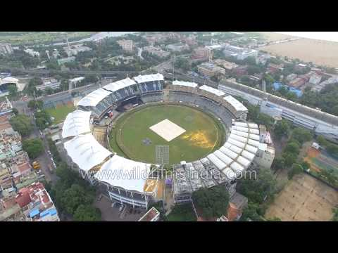 Chennai from the air: stadium, Madras Club, Fort William, Georgetown and general city views