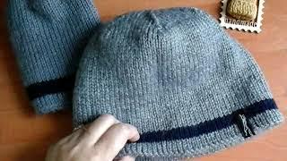 Вязание.Готовая работа- мужская шапка спицами полой резинкой.Как я вяжу.Обзор.Планирую новый джемпер
