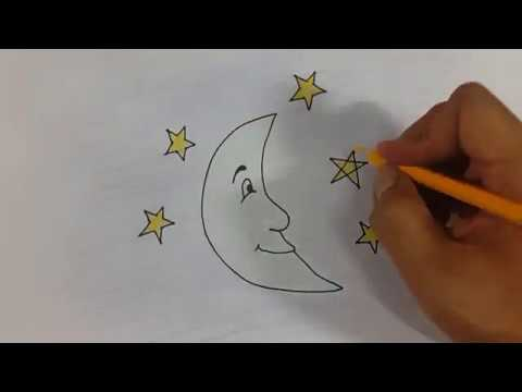 How to draw moon and stars step by step for kids with
