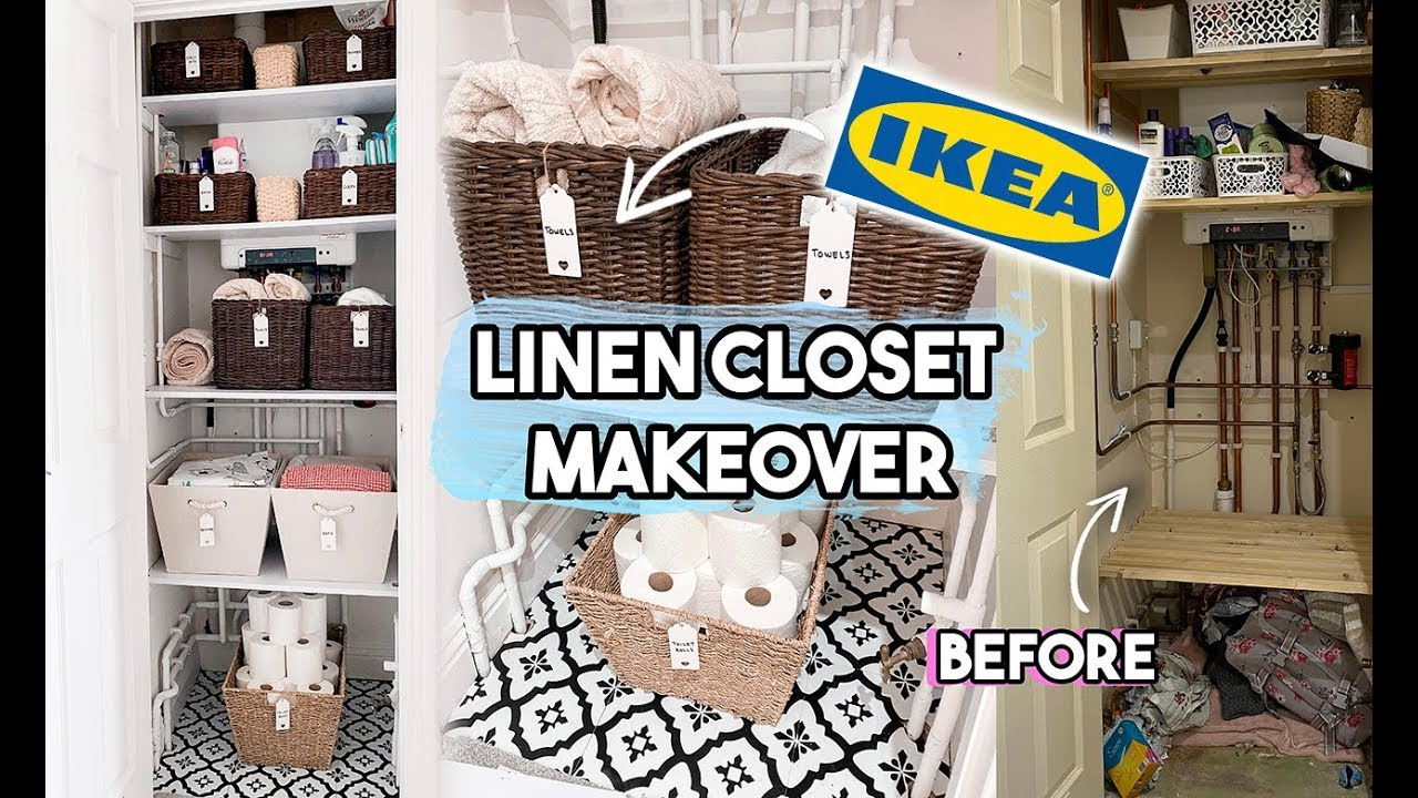 LINEN CLOSET ORGANISATION AND MAKEOVER USING IKEA STORAGE   AIRING CUPBOARD  TRANSFORMATION