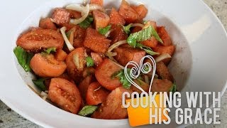 Tomato And Watermelon Salad - Cooking With His Grace