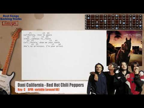 Dani California - Red Hot Chili Peppers Guitar Backing Track With Chords And Lyrics