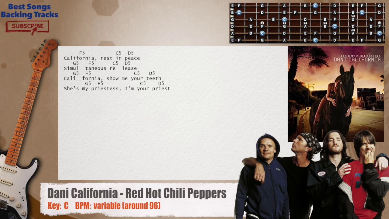 🎸 Dani California   Red Hot Chili Peppers Guitar Backing Track with chords  and lyrics