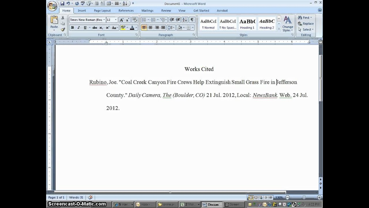 Works cited page in essay citations