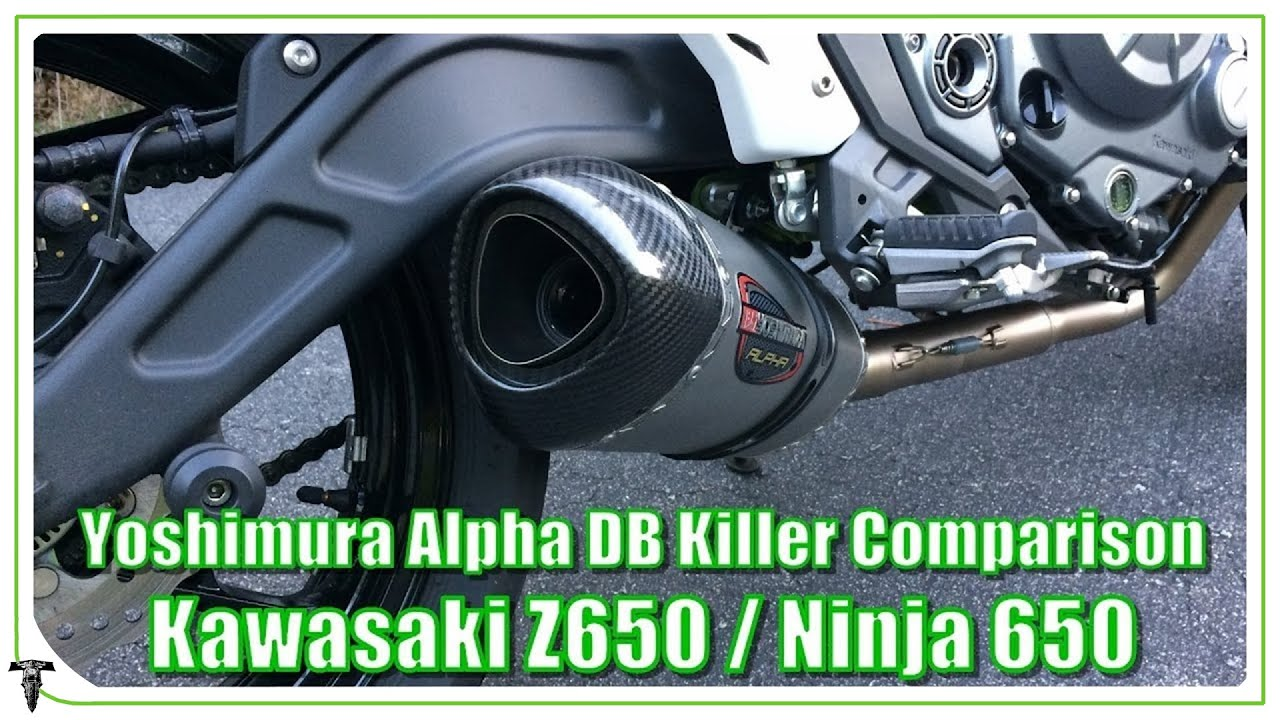 kawasaki z650 / ninja 650 exhaust db killer comparison | yoshimura
