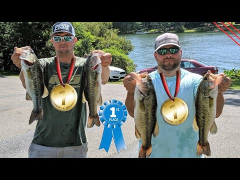 WE WON ON MY HOME LAKE!  Alabama Bass Fishing With Topwater Frogs And Plastic Worms