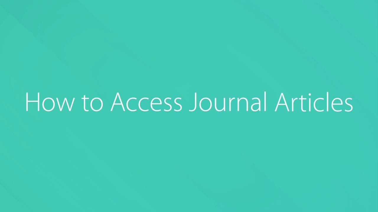Accessing Journal Articles?