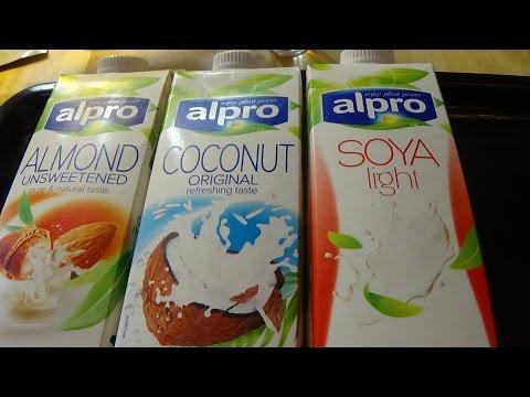 Healthy milk alternatives Coconut, Almond and Soya Alpro  Milk Live Test part 1