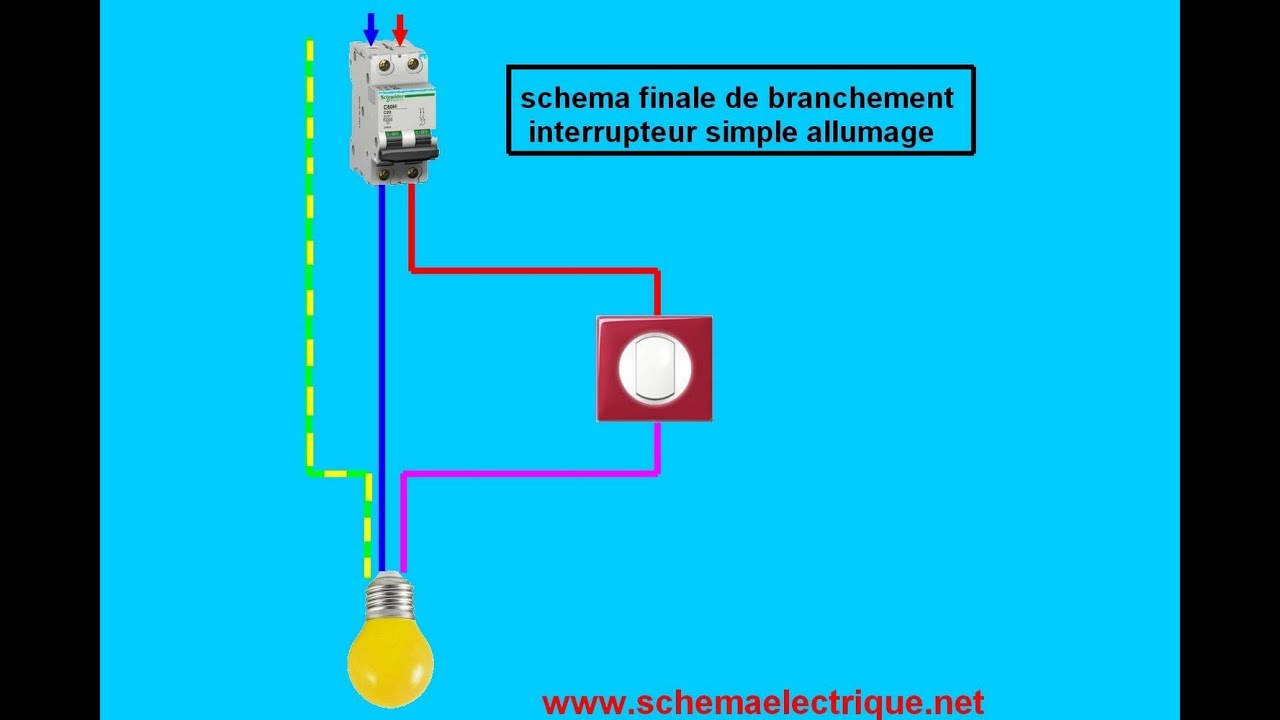 Schema branchement cablage interrupteur simple allumage for Monter un va et vient en interrupteur