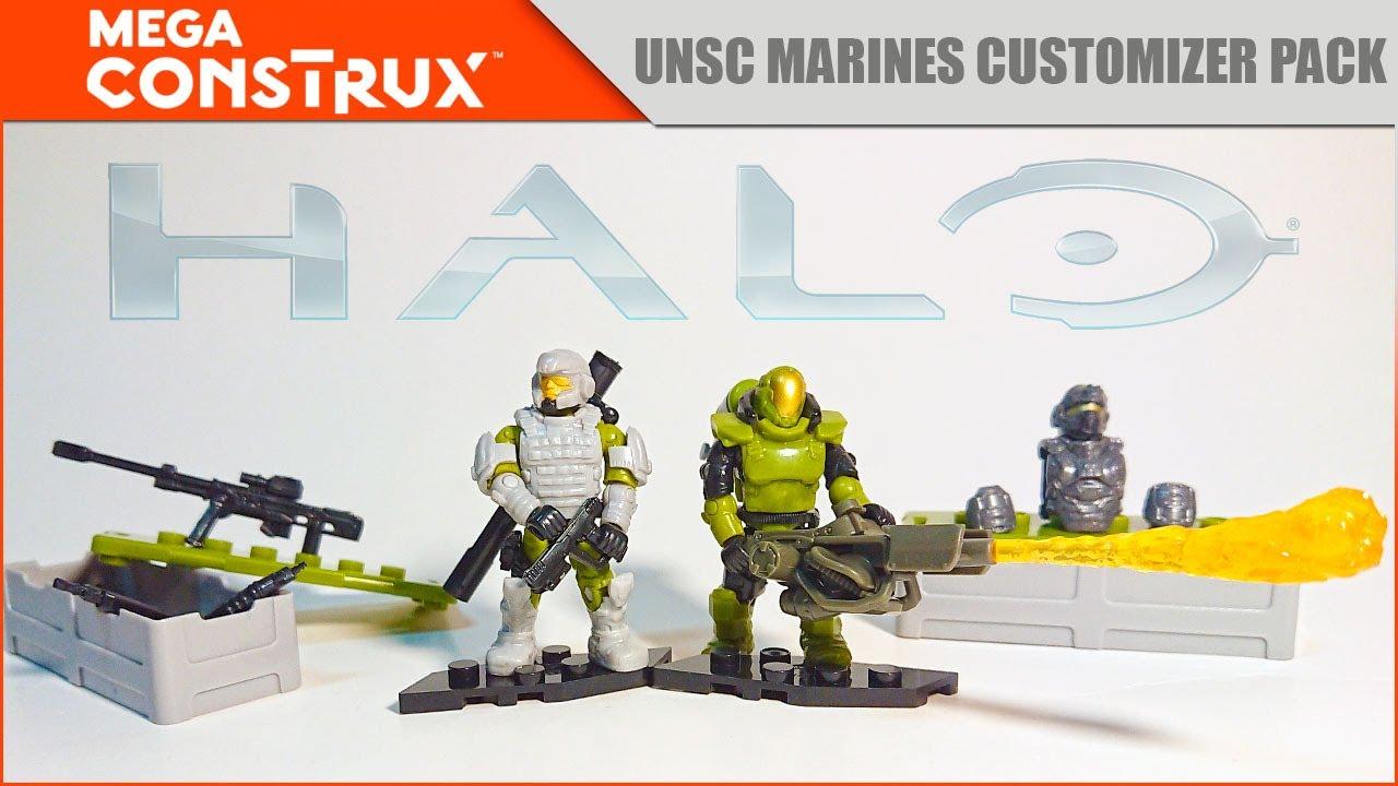 Видео обзор: Набор Морпехи ККОН   HALO UNSC Marines Customizer Pack   Mega Construx