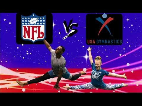Teaching NFL Football player Brandon Copeland Gymnastics!