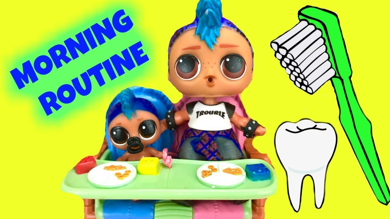 LOL Surprise Doll Punk Boi's Morning Routine with His Band at Playground