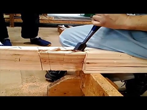 Amazing Woodworking Fastest Hand craft Cutting Skills - Rabbeted Oblique Scarf Joint