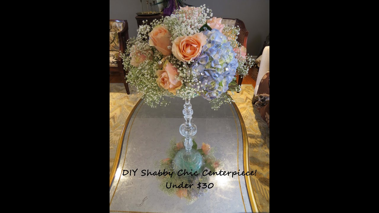 Shabby Chic Wedding Centerpiece Under $30 - YouTube