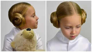 Princess Leia's HAIR BUNS​​​ from STAR WARS. Party hairstyle for little princess #13