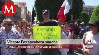 Vicente Fox encabezó marcha contra AMLO en León