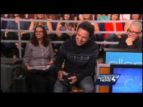 Blooper occurs during Andrew Stockey's Ellen DeGeneres interview