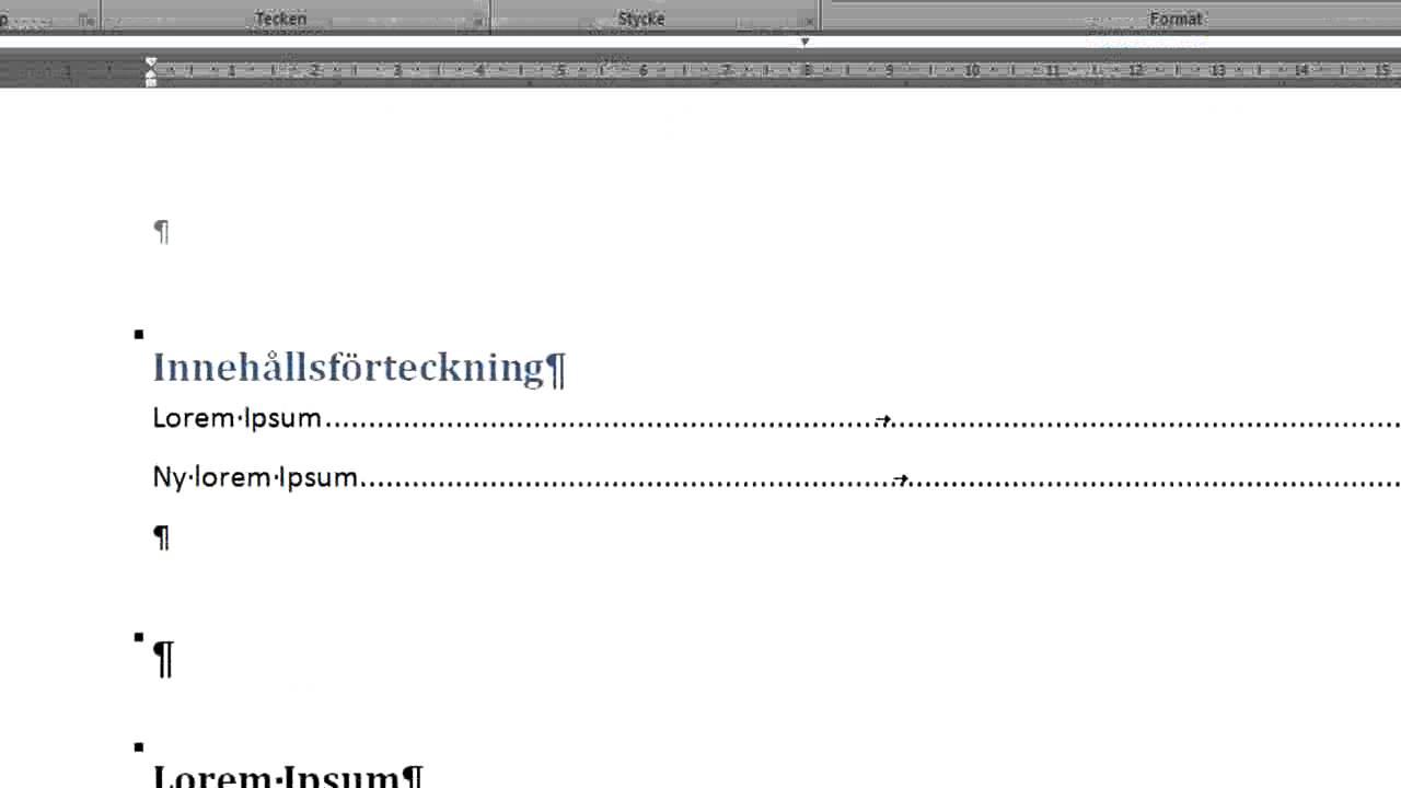 innehållsförteckning microsoft word
