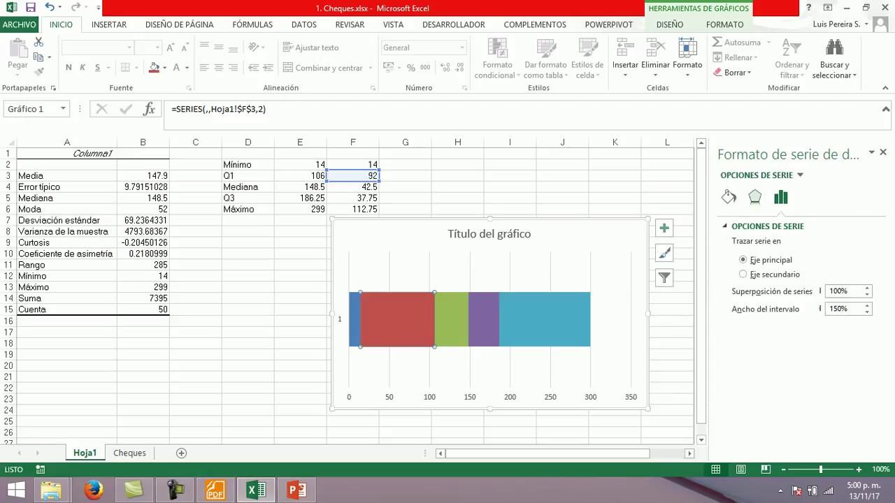 Estadística 1. Diagrama de caja en Excel (con gráfica de ...