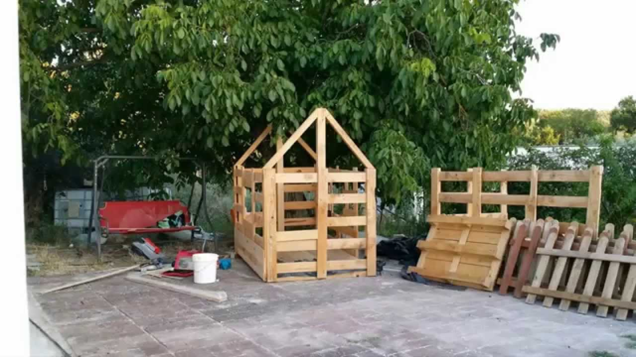 Casa para ni os de madera a partir de palet youtube for Casita infantil jardin