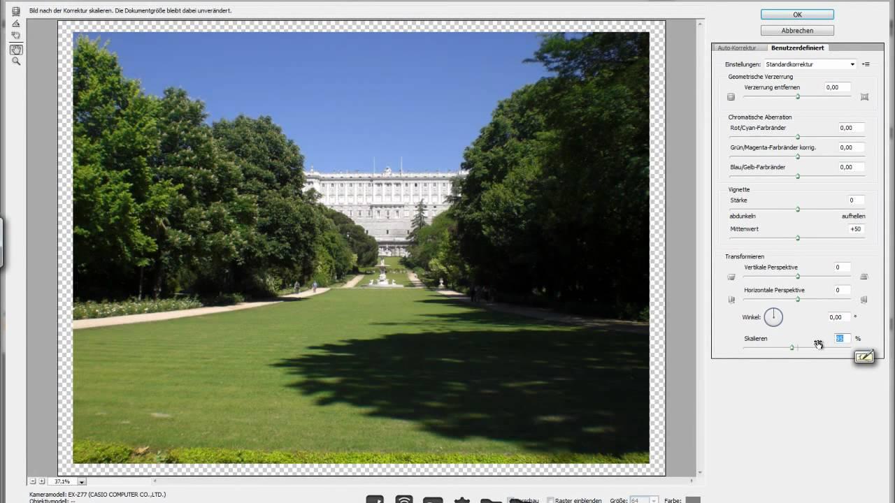 Photoshop : Rahmen um Bilder mit Objektivkorrektur - YouTube