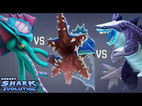 Kraken Vs Abysshark Vs Sharkjira Hungry Shark Evolution Youtube