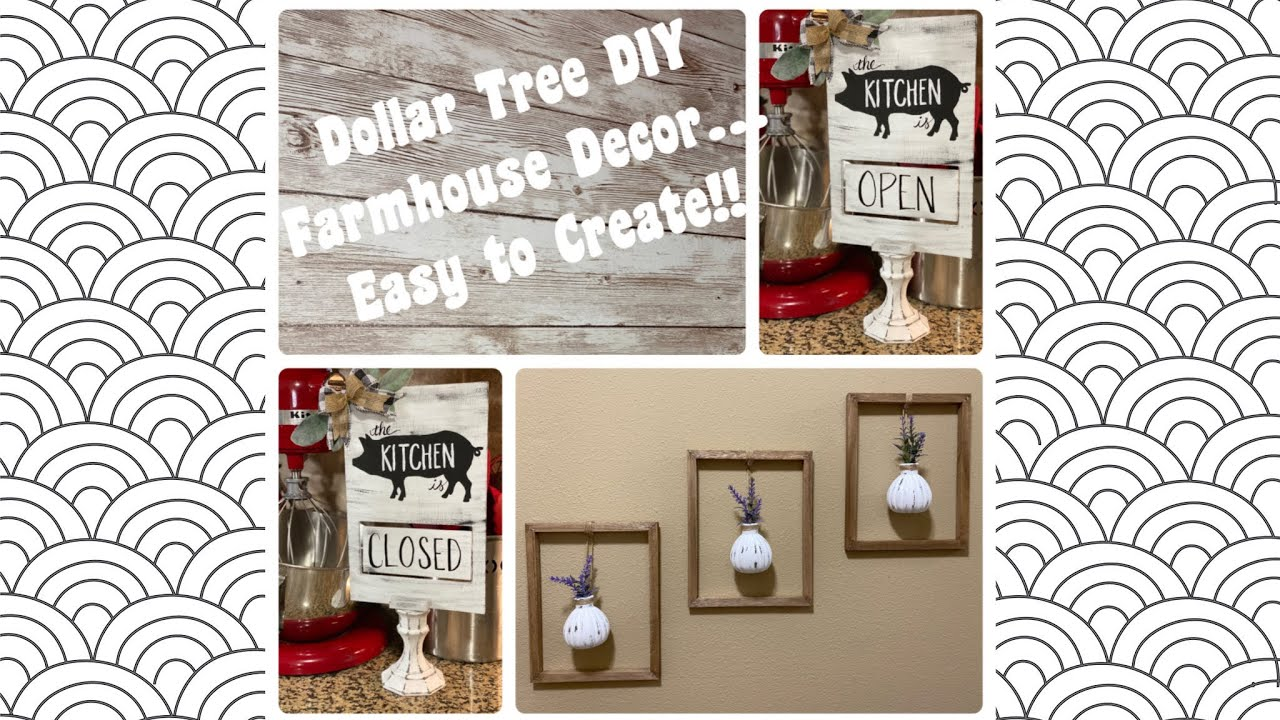 Dollar Tree DIY Modern Farmhouse Wall Decor, Kitchen Pig Open / Closed  Sign, Vase & Lavender Frame