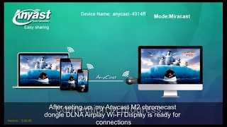 Display wirelessly to TV using AnyCast M2 Plus Mini Wi-Fi Display Dongle Receiver